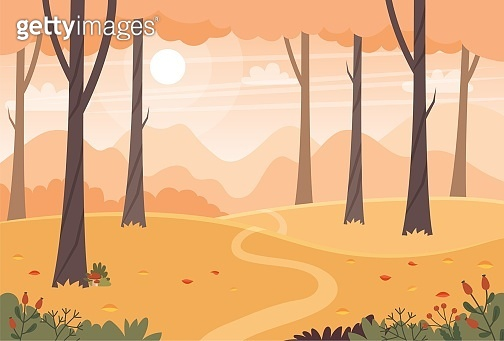 Autumn landscape with trees, fields and hills. Countryside landscape. Vector illustration in flat style