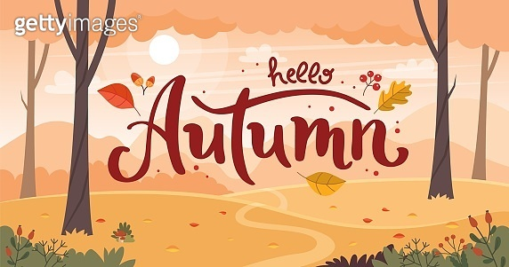 Autumn landscape with lettering. Countryside landscape. Vector illustration in flat style