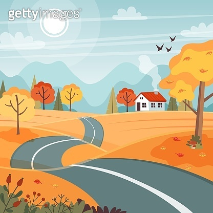Autumn road. Landscape with mountains and hills. Vector illustration in flat style