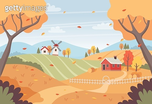 Autumn landscape with trees, fields, houses and windmill. Countryside landscape. Vector illustration in flat style