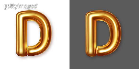 Metallic gold alphabet letter symbol - D. Vector