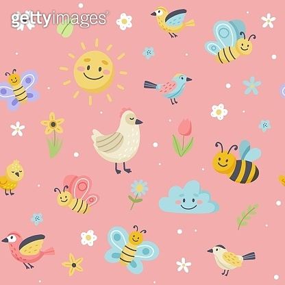 Easter pattern with cute butterflies, bees and birds. Hand drawn flat cartoon elements. Vector illustration
