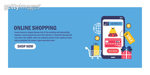 Online shopping with smartphone. E-commerce concept