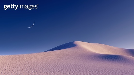 Unreal desert landscape and half moon in night sky