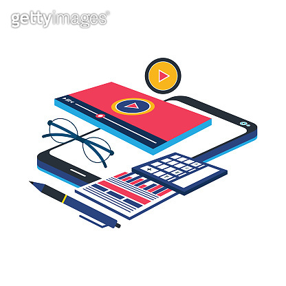 Online video webinar on mobile phone on working desk table or conference smartphone call concept