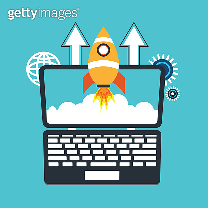 Rocket flying up out of laptop screen as a symbol of successful launch of online startup