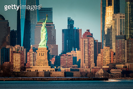 Statue of Liberty with Manhattan in the background