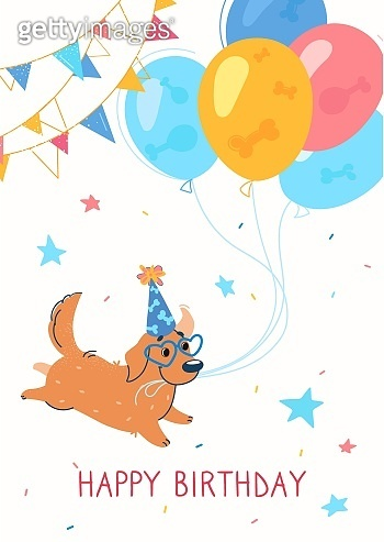 Holiday card, Happy Birthday lettering. Illustration with a Labrador (retriever). The dog runs and holds balloons on a rope, cap on his head, around a garland. The dog has a birthday,  a party. Vector
