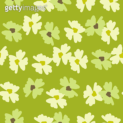 Summer field seamless pattern with meadow flowers bud ornament. Green bright grass background.