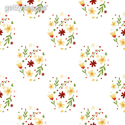 Ditsy seamless isolated pattern with multicolor pastel flowers and leaves botanic shapes. White background.