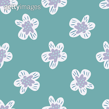 Decorative seamless pattern with white colored flower buds shapes. Blue background. Summer nature print.