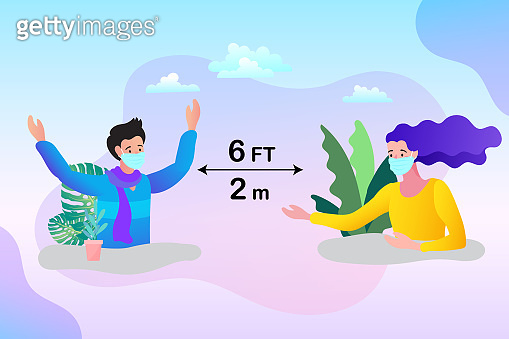 Social Distancing, Space for safety and people. flat vector illustration.