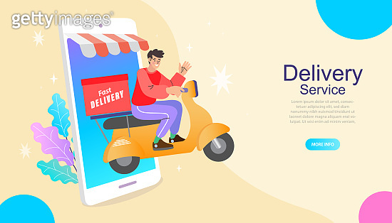 Online delivery service concept. Fast delivery by scooter via mobile phone. Man riding scooter. Vector illustration.