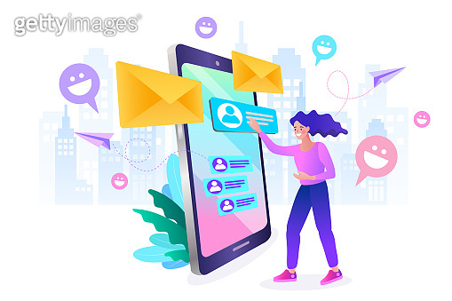 Young woman checking email on the computer. reading email on screen desktop. Business communication, internet and technology concept. New message icons on mobile phone screen. vector illustration.