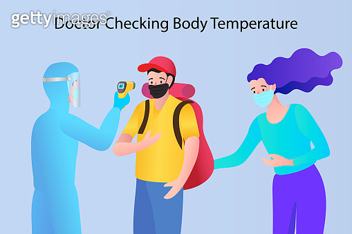 Man and woman scan temperature body check via Infrared Thermometer, Social distancing concept,keep distance in public society people