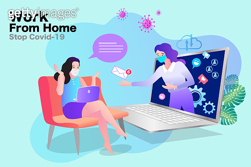 Stay at home during the coronavirus epidemic. People works from home. Vector illustration in flat style.