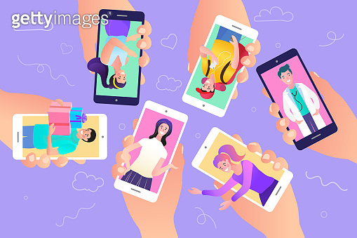 Many hands holding mobile phone. Mobile community concept. Social network illustration.