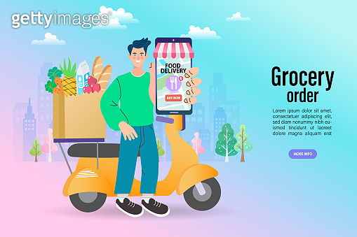 Ecommerce concept. Online shopping. Online delivery service concept. Fast delivery by scooter via mobile phone. Man riding scooter. Vector illustration.