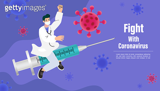 Doctors fight coronavirus with covid19 vaccine. The doctor rode a syringe to fight disease. Illustration about health care and safety.