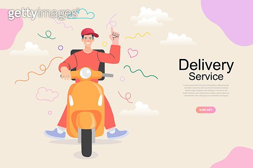E-commerce concept, Fast delivery by scooter on mobile, Online food order infographic. Webpage, app design. Isolated vector.