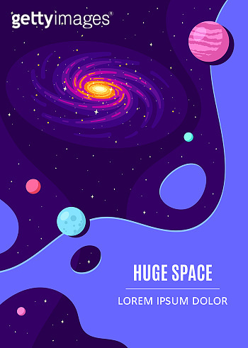 Outer Space Concept Banner Template In Flat Style