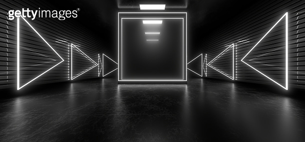 Dark tunnel with bright white neon lights on a black background. 3d rendering image.