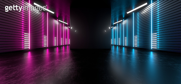 Dark hall with bright colored neon lights on a black background. 3d rendering image.