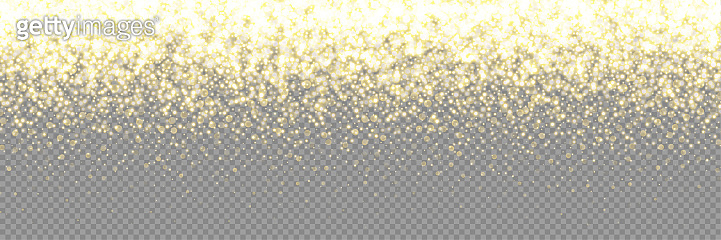 Gold glitter light background, vector golden glistening glow. Glittering Christmas confetti or dust shine with glowing sparkles, magic golden fall pattern