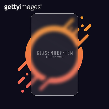 Glassmorphism effect with transparent glass plate on gradient circle with liquid splash and drops. Frosted acrylic or matte plexiglass plate in rectangle shape. Realistic glass morphism. Vector