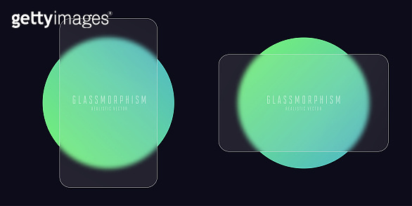 Glassmorphism effect with set of transparent glass plates on green gradient circles. Frosted acrylic or matte plexiglass plates in rectangle shape. Realistic glass morphism. Vector illustration.