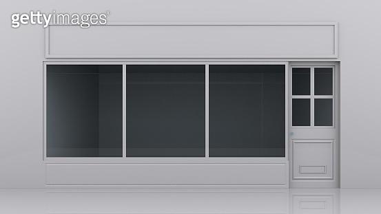 white empty shop front 3D illustration