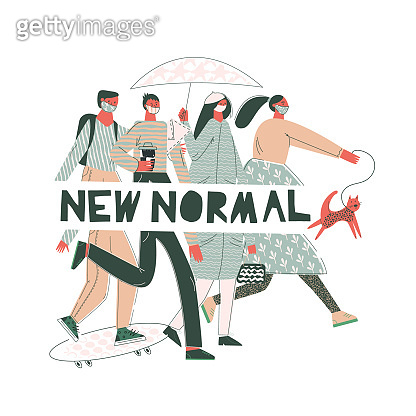 New normal concept of social distancing people with face mask. Men and women wear trendy facial mask outside. Flat vector cartoon illustration with cut out lettering isolated on white background