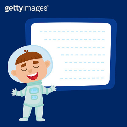 Cute little boy astronaut with a blank poster for your text entr