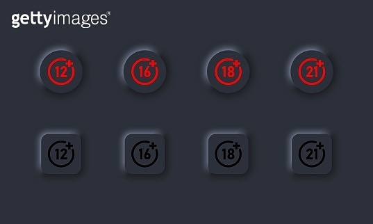 Set of age restriction icons. 12, 14, 18 and 21 age limit concept. Adults content. Dark theme. Neumorphism style. Vector EPS10. Isolated on background