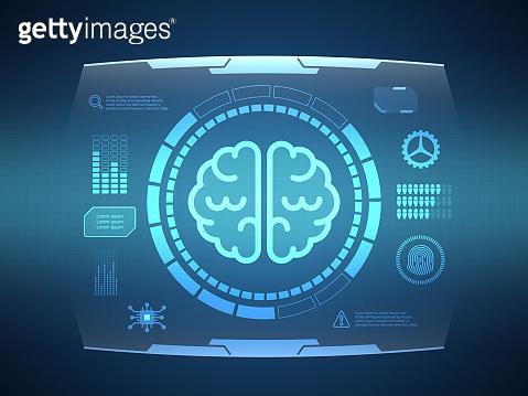 abstract brain futuristic hud display interface sci fi technology