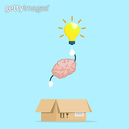 brain flying out of box with light bulb think out box concept