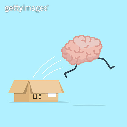 brain jumping from box think out box concept