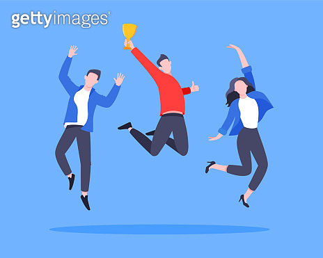 Employee recognition or proud worker of the month business concept flat style design vector illustration.