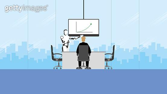 ฺTechnology concept of business training and presentation in the future. Artificial intelligence is a colleague of teamwork meeting in the conference room. People sit and listen to the robot speaker.