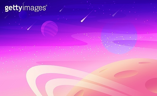 Outer space purple background. Colorful vector illustration of far planet and open space.