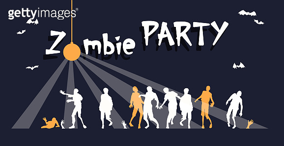 Colorful bright web banner congratulations on the holiday Halloween, zombie party - Vector