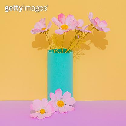 Romantic Decor flowers in vase. Still life minimalist scene. Bloom, Spring,summer, greeting card, invitation concept.