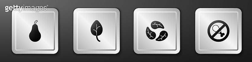 Set Pear, Leaf or leaves, and No meat icon. Silver square button. Vector