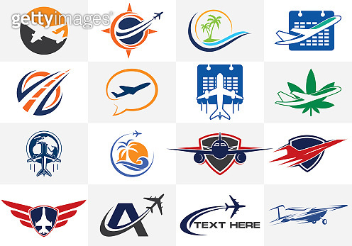 Travel icons. Aviation logo sign,