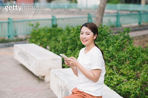 Portrait of Young Asian woman happy and relaxing time