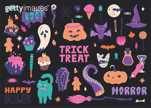 Big Halloween set, hand drawn scary elements. Cute collection with broom, cupcakes, cauldron