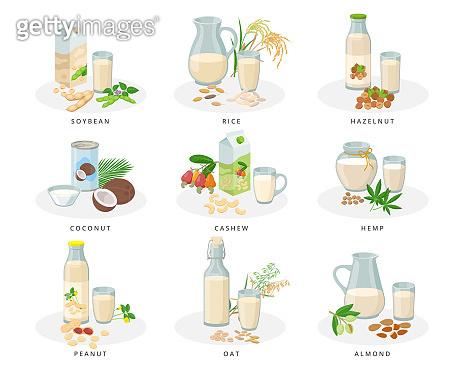 Vegan milk set, almond, soybean, rice, hazelnut, coconut, cashew, hemp, peanut, oat milk. Varius bottles, packages, glasses, jugs with plant milk and nuts collection of vector illustrations.