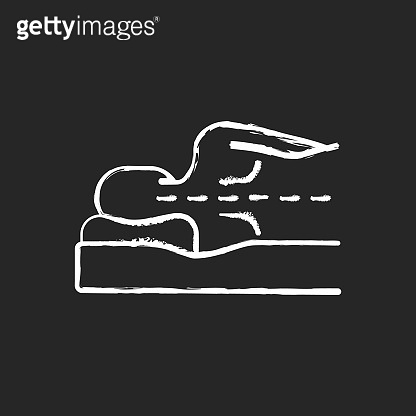 Correct sleeping position for spinal health chalk white icon on black background