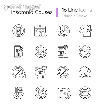 Insomnia causes linear icons set