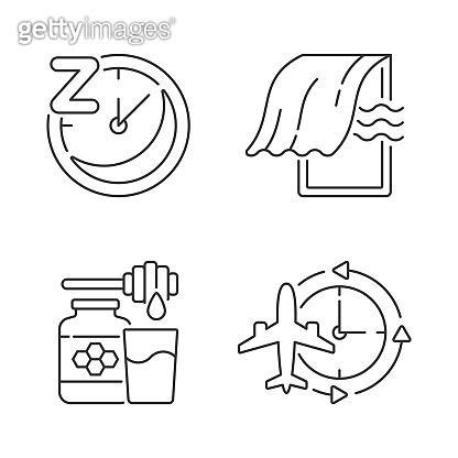 Recommendations to improve sleep linear icons set